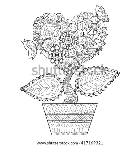 flowers in heart shape on a pot
