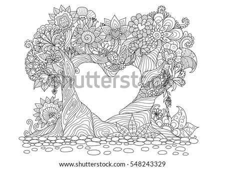 Flowers In Heart Shape On Floral Ground Line Art Design For Coloring Book Adult
