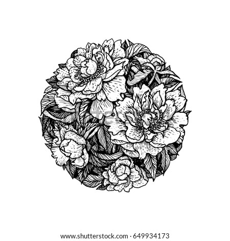 flowers in the circle peony black and white vector illustration