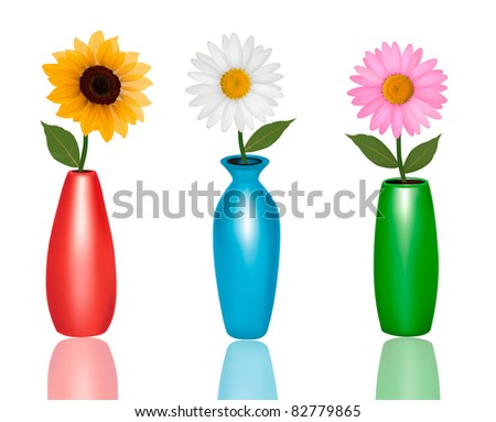 Flowers in vases isolated on white background. Vector.
