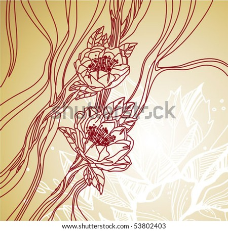 Flowers line art drawing on grunge background