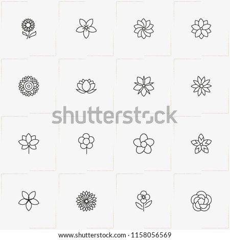 Flowers line icon set with flower, chamomile  and lotus #1158056569