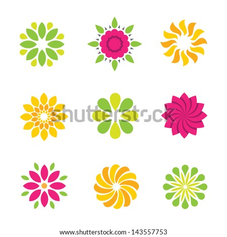 flowers nature logo symbol and