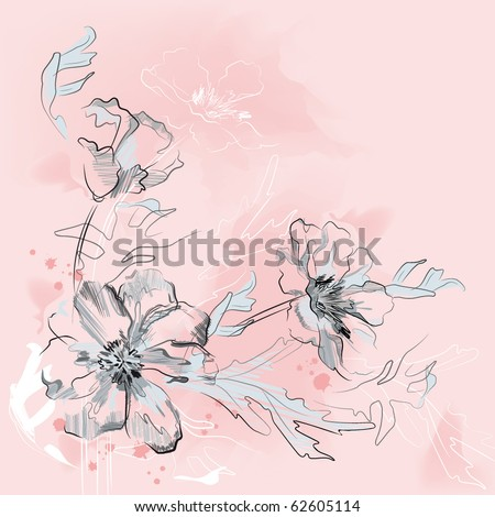 Flowers on a pink watercolor background.