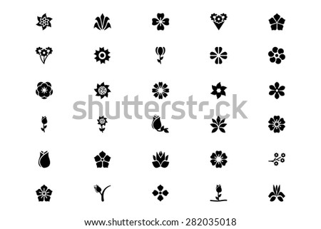 flowers or floral vector icons 6