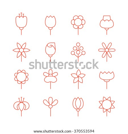 flowers outline red vector