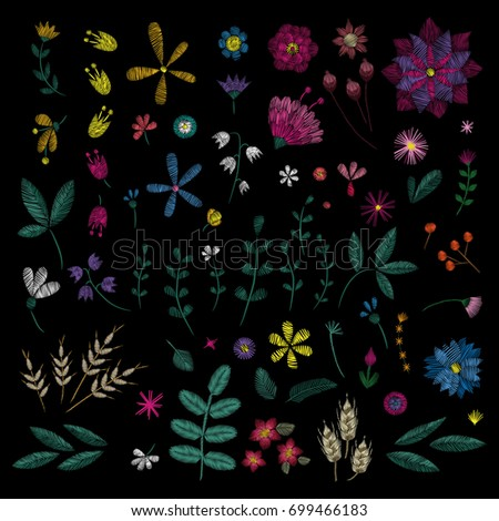 Flowers plant. Traditional folk stylish stylish floral embroidery on the black background. Sketch for printing on fabric, clothing, bag, accessories and design. Vector, trend
