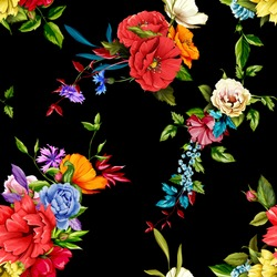 Flowers. Poppy, wild roses, cornflower with peony and leaves on black. Seamless background pattern. Hand drawn. Vector - stock.