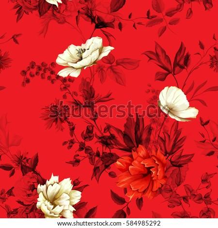 flowers poppy  wild roses