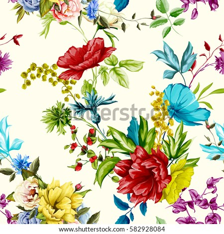 Flowers. Poppy, wild roses, cornflower with peony and leaves on white. Seamless background pattern. Hand drawn. Watercolor. Vector - stock.