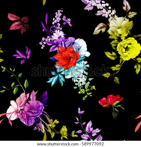Flowers. Poppy, wild roses, rose, chamomile(camomile), cornflower with lily of the valley and leaves on black. Seamless background pattern. Hand drawn. Vector - stock.