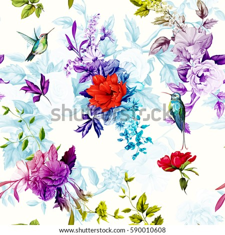 Flowers. Poppy, wild roses, rose, chamomile(camomile), cornflower with lily of the valley and two hummingbird on calm background. Seamless background pattern. Hand drawn. Vector - stock.