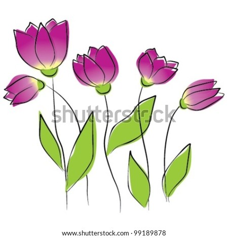Flowers - purple tulips, vector illustration