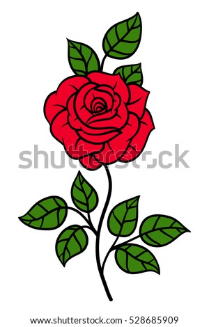 Flowers roses, red buds and green leaves. Isolated on white background. Vector illustration.