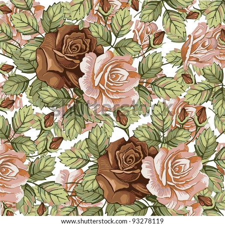 Flowers. Roses. Vector. Beautiful background with a flower ornament.