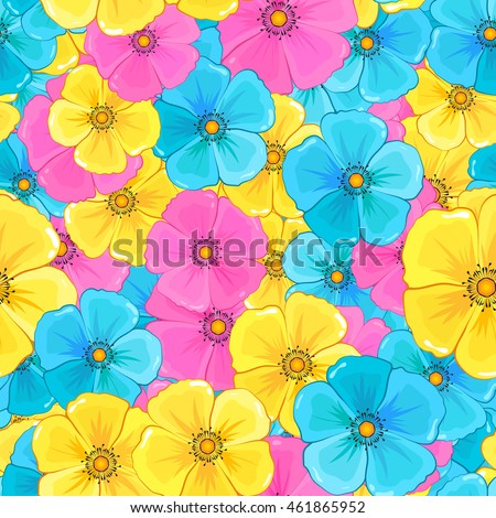 stock vector flowers seamless pattern background vector image of a lot of colored flowers 461865952 - Каталог — Фотообои «Цветы»