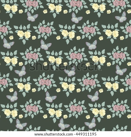 Flowers Seamless Pattern. Floral Design pattern with flower and butterfly green background.