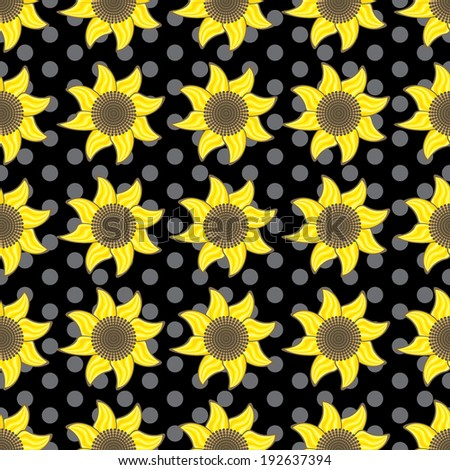 Flowers. Seamless pattern with flowers. Sunflowers on black background