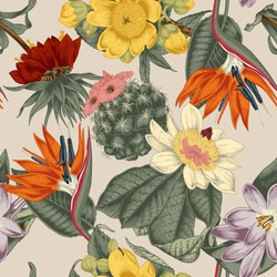Flowers. Seamless vector background. Vintage illustration. Exoticism. Tropics