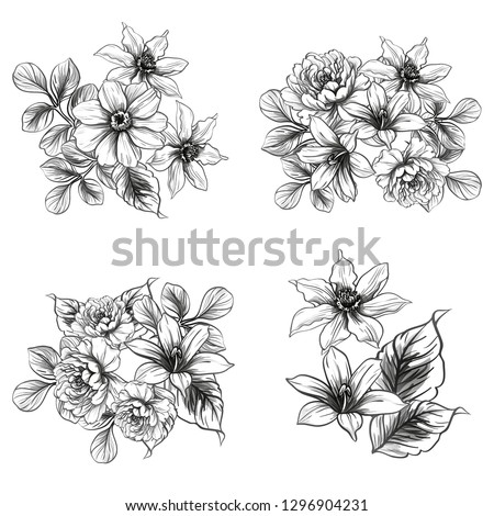 Flowers set. Collection of floral elements #1296904231