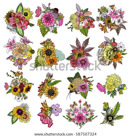 flowers set of 16 bouquets