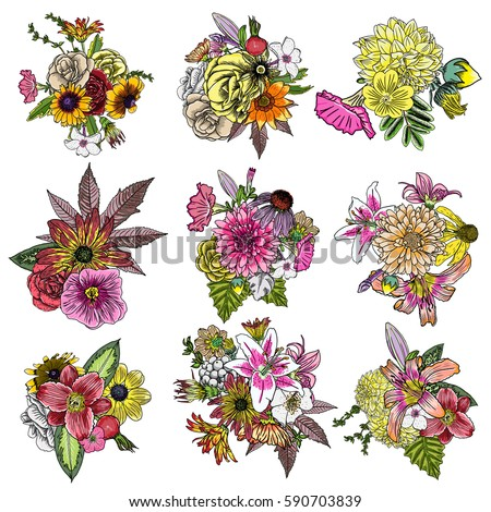 flowers set of 9 bouquets