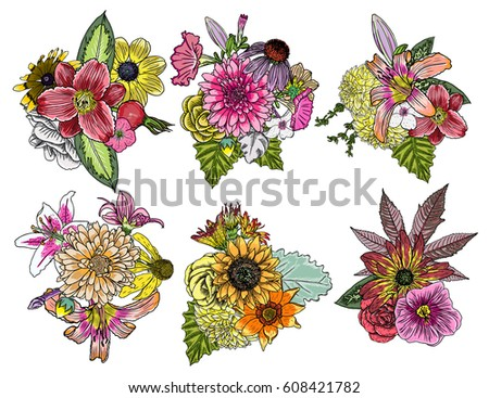 flowers set of 6 bouquets