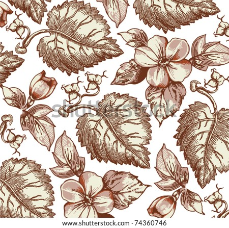 Flowers. Vector. Beautiful background with flower drawing.