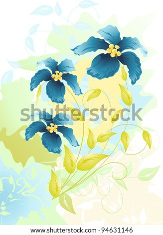 flowers watercolor drawing, vector  illustration