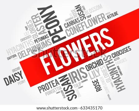 flowers word cloud collage