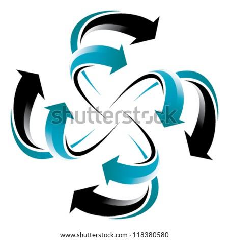 flowing arrow wheel - blue and black arrows
