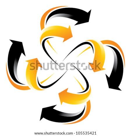 flowing arrow wheel - orange and black arrows