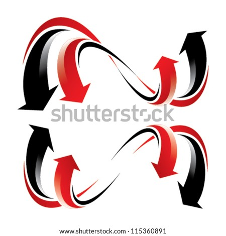 flowing arrow wheel - red and black arrows