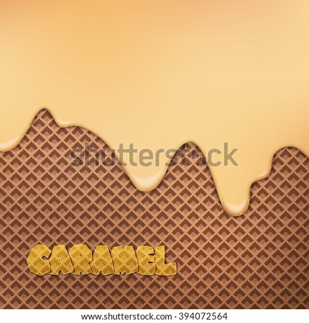 flowing caramel cream over chocolate wafer pattern. vector dessert background. closeup sweet food design. bakery menu decoration with drip ice cream and cocoa biscuit