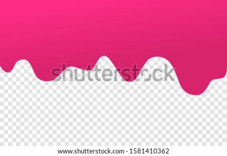 Flowing cherry or raspberries jam. Dripping pink caramel. Paint drip or nail polish. Slime vector texture.