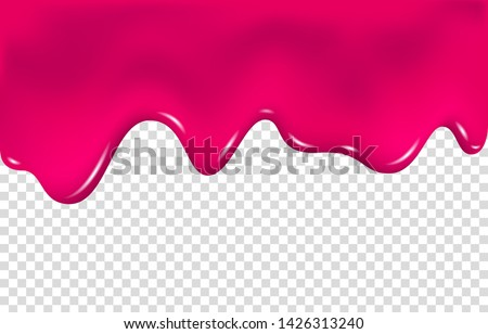 Flowing cherry or raspberries jam. Dripping pink caramel. Realistic paint drip or nail polish. Slime vector texture.