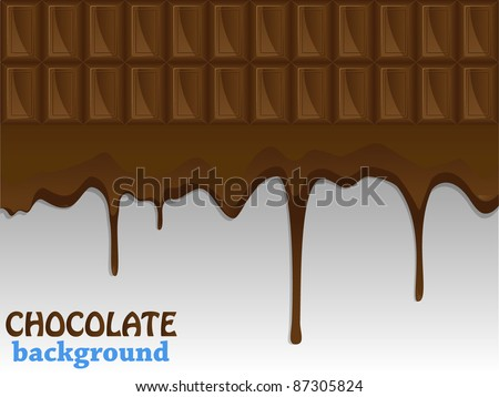 Flowing chocolate drops. Vector illustration.