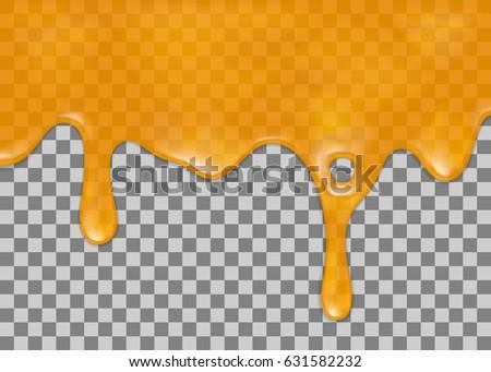 Flowing down honey on transparent background. Vector illustration, eps 10. ストックフォト ©