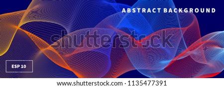 Flowing lines, geometric background, gradient banner, blend lines, template, presentation, muzical wave. Vector illustration Imagine de stoc ©