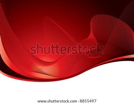 flowing lines of a abstract background in red and white