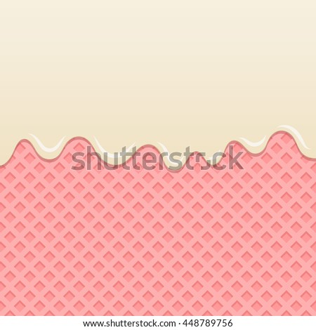 Flowing milk cream melt on strawberry wafer background.