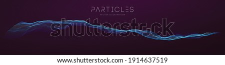 Flowing particle waves. Music abstract tech background. Vector sound wave technology background. Equalizer for music, showing audio waves with music waves. EPS 10.