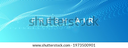 Flowing particles with depth of field. Particle waves showing a stream of clean fresh air. Air flow. Vector illustration.