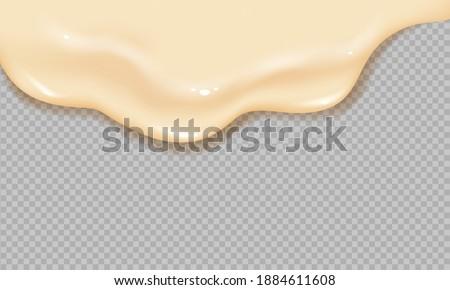 Flowing realistic liquid mayonnaise on transparent background.Spreading cheese, cream, milk, cream or yogurt.