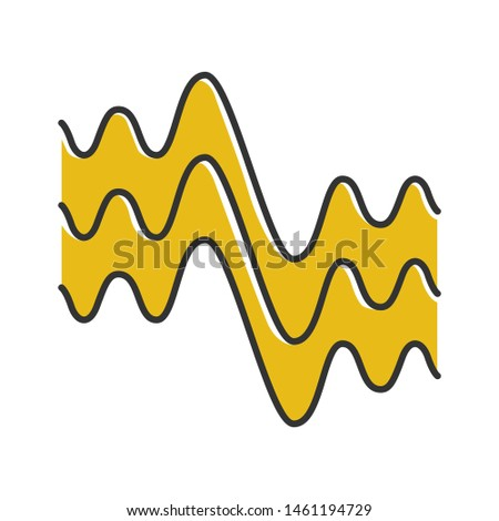 Flowing wavy lines color icon. Fluid parallel soundwaves. Sound and audio waves. Abstract organic waveforms. Vibration amplitude. Motion, dynamic effect. Isolated vector illustration