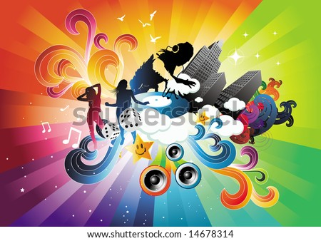 Flowing with Energy - stock vector