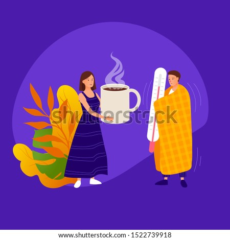 Flu and Sickness Concept with Sick Person Having Cold. Ill Man Wrapped in Warm Plaid Blanket and Holding Huge Thermometer Woman Giving him Hot Drink. Medicine Disease Illness Cartoon Flat Vector