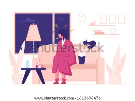 Flu and Sickness Concept with Sick Woman Having Cold. Ill Girl with Thermometer in Mouth Sitting at Home with Pile of Medicine on Table. Seasonal Disease and Illness. Cartoon Flat Vector Illustration