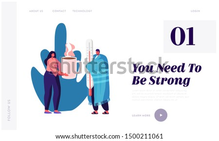 Flu and Sickness Website Landing Page. Sick Person Having Cold. Ill Man Wrapped to Warm Plaid Holding Huge Thermometer Woman Giving Hot Drink, Illness Web Page Banner. Cartoon Flat Vector Illustration