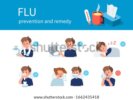 Flu Disease  Remedy and Prevention against Virus and Infection. Character Using Tissue, Washing Hands, Wearing Protection Mask. Boy use Medical Mask and Tissue. Flat Cartoon Vector Illustration.